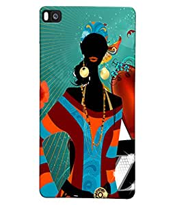 Fuson Style Girl Back Case Cover for HUAWEI P8 - D3882