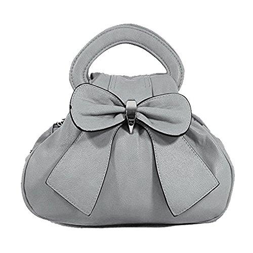 Handtasche mit Schleife und Griff Grau