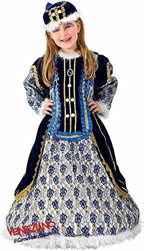 Fancy Me Italienische Herstellung Deluxe Mädchen lang blau/Gold mittelalterlich Prinzessin Königin Kostüm Kleid Outfit 2-5 Jahre - 4 Years