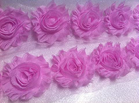 Flower Lace Trim - Frayed Chiffon Rose - Shabby Chic Bridal Flowers - BABY PINK -by yard by HomeBuy