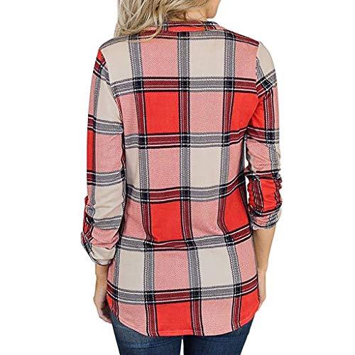 Clacce Damen Bluse Langarm Casual Oberteil Lose Langarmshirt Vintage Tunika Hemd T-Shirt Frauen V-Ausschnitt Langarm Plaid Print Einfache Bluse Tops Shirt -