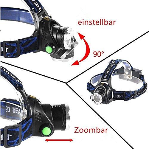 51cSYvipzaL - Huntvp Lampada da Testa LED XML-T6 2000LM 10W Super Luminoso Lampada Frontale Ricaricabile Faro Impermeabile Faro Orientabile Head Lamp per Campeggio Escursionismo Ciclismo Pesca