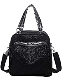 Tianya Moda mochila cómoda de gran capacidad color sólido Mochila de lentejuelas de color liso de