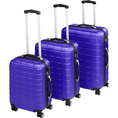 TecTake Set de 3 valises de Voyage de ABS | avec Serrure à Combinaison intégrée | poignée télescopique | roulettes 360° - diverses Couleurs au Choix (Bleu| no. 402675)
