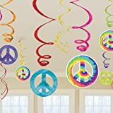 60s Feeling Groovy Party Decoration Swirls with Cutouts
