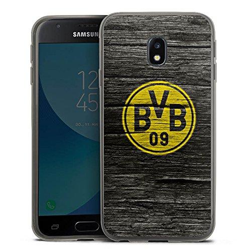 DeinDesign Samsung Galaxy J3 Duos 2017 Slim Case transparent anthrazit Silikon Hülle Schutzhülle Borussia Dortmund BVB Holzoptik