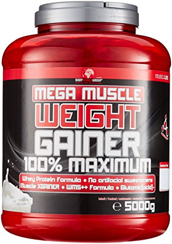 #BWG Mega Muscle Weight Gainer 100% Maximum, Muscle Line, Mega Chocolate, Dose mit Dosierlöffel, 1er Pack (1 x 5000g)#