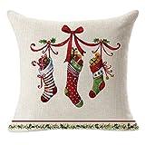 Funda de cojín de almohada, SKY 45cm *45cm Lino de Navidad Cuadrado Lanza Funda de almohada de lino Funda de almohada decorativa de cojín (D)