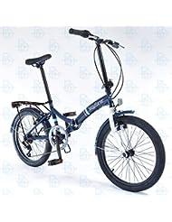 "Universal Wayfarer 20"" Unisex City and Trek Bike - Navy and White - Folding Bike"
