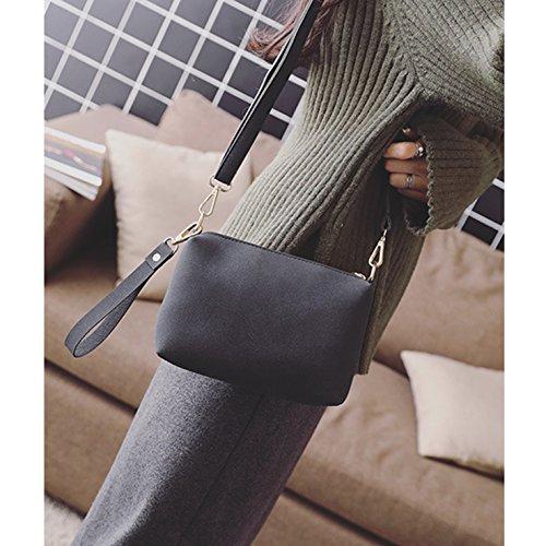 HeHe Elegante Da Donna Cerniera Design Handbag Shoulder Bag Tote Bag Cross-body Bag 2 Pezzi Nero