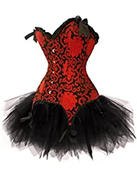 JL Red Satin Lolita Fancy Dress Corset and Bustier Tutu Skirt Set Outfit