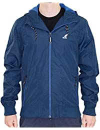 Kangol Mens Lightweight Designer Hooded Zip Up Coat Branded Elastic Hem Jacket