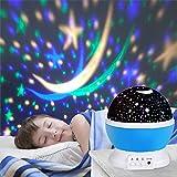 Lampe éclairage étoile, Ubegood Lampe de Projection Ciel Étoile Nuit Lumière 4 LED Lampe 360 Degrés Romantique Veilleuse Etoiles Virevoltant Lampe avec le câble d'USB ou 4 pcs AAA batteries - Bleu