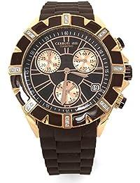 Cerruti 1881diamante damas reloj cronógrafo 36mm tono de oro rosa correa de silicona de