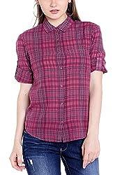 Spykar Womens Cotton Maroon Regular Fit Shirts (Large)