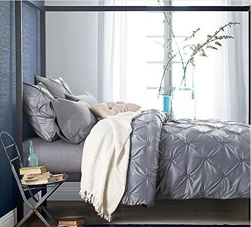 beddingleer lujo todas las estaciones cama grande 100% lavar seda–Juego de–1funda de edredón, 1sábana encimera, 2fundas de almohada, 2Diciembre almohada, gris, 220x 240cm)