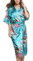 Avidlove Women's Robes Peacock and Blossoms Kimono Satin Nightwear Long Style