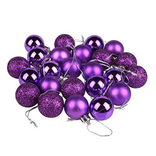 Palline per albero di natale oulii sfere palle da appendere per decorazione natalizia 24pcs con scatola viola