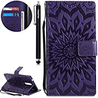 Handyhülle Nokia 8,HUDDU Sonnenblume Embossed Lila Schutzhülle Nokia 8 Hülle Flip Leder Tasche Wallet Case Handycover... preisvergleich bei billige-tabletten.eu