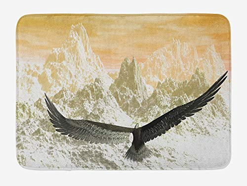 tgyew Birds Bath Mat, Eagle Flying Towards The Mountains in The Sunset Clouds Wild Nature Landscape Print, Plush Bathroom Decor Mat with Non Slip Backing, 23.6 W X 15.7 W Inches, Orange Olive