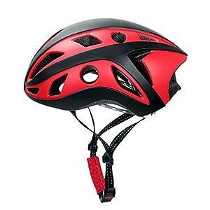 Radfahren Sicherheit Leichte Fahrradhelm – One Size (57-62Cm), Abnehmbare Polsterung Erwachsene Fahrradhelm 280G Mit Brille Rot
