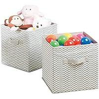 mDesign Aufbewahrungsbox aus Stoff im 2er-Set – Ordnung im Kinderzimmer – große Box zur Decken, Kleidung oder Spielzeug Aufbewahrung – taupe/natur preisvergleich bei kinderzimmerdekopreise.eu