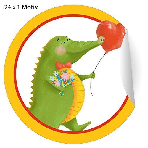 24 super lustige Glückwunsch Aufkleber mit Blumen bringendem Krokodil und Herz Ballon, MATTE Papier Sticker für Geschenke, Mitgebsel, universal Etiketten für Deko, Pakete, Briefe etc (ø 45mm; 24 x 1 Motiv) - Ballon X Brief