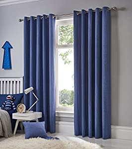 "Plain Denim Blue 100% Cotton Fully Lined 90"" X 90"" - 229cm X 229cm Ring Top Curtains from Curtains"