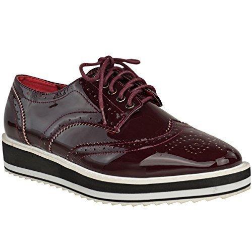 Trepadeiras Chinelo Planas Ásperas Únicos Sapatos Escolares Lace-smart Mulheres Tamanho Patente Borgonha Uk