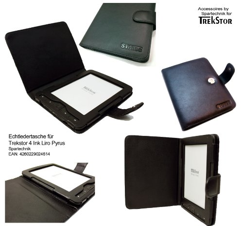 Echtleder Trekstor 4 Tasche: Beste STCase Rindsledertasche für Trekstor 4 Ink 4ink 4.0 Hugendubel Bertelsmann Weltbild Trekstor Liro Ink TrekStor PYRUS E-Book Reader - Luxus Cow leather ebook Case - Ledertasche schwarz