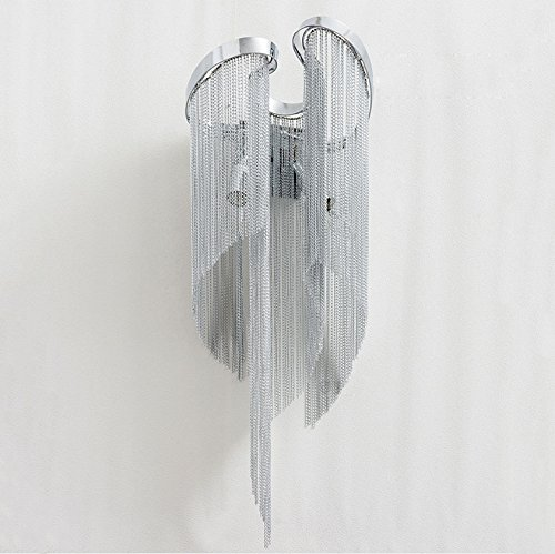 Personnalisé créatif chaîne en aluminium lumière luxe luxe style de salon adapté à la chambre, salon. Corridor Villa luxueuse lampe murale argent [classe A + économie d'énergie] (25 * 25 * 68) cm