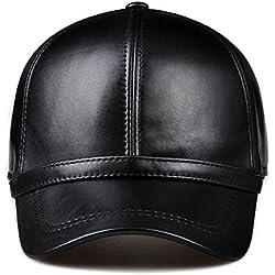 Las mujeres baseball hat badanas casual gorra de cuero y tapa rostro delgado el muelle Fisherman hat gorra,XL (58-60cm) puede ser ajustada, negro