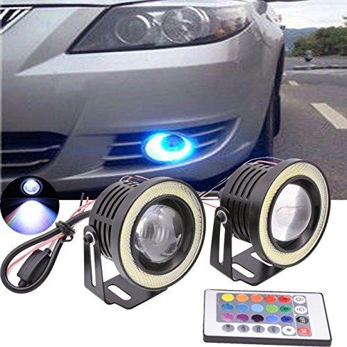 (TUINCYN 3 Zoll Projektor universal RGB LED Birne Weiß COB halo engel eye ringe Verwendet für Tagfahrlicht DRL Autofahrlicht (2er Pack))