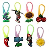 Plants Vs. Zombies Luminescent Colorful Silicone Snap Lock Zipper Pulls 8 Pcs Set #1
