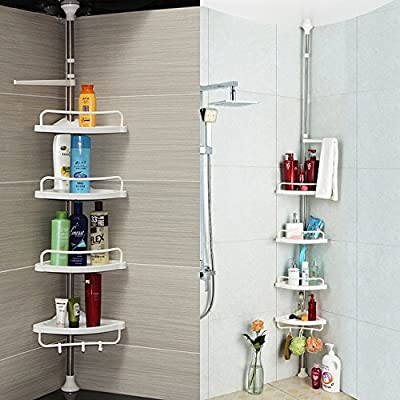 Homitex Shower Shelf Stand 4 Tier Adjustable Bathroom Corner Rack Caddy(95 - 300cm) produced by HT - quick delivery from UK.