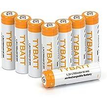 TYBATT Pilas Recargables AA NI-MH 1700mAh 1.2V precargadas 1200 ciclos Baterías Recargables Juego de 8