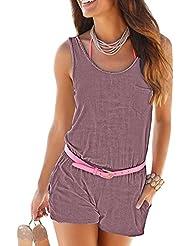 Mujer Monos De Vestir Cortos Atractivo Club Mini Playsuit Ladies Jumpsuit Shorts Beach Púrpura S