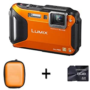 Panasonic Lumix DMC-FT5 Compact Camera - Orange + Case and 8GB Memory Card (16.1MP, 4.6x Optical) 3.0 inch LCD