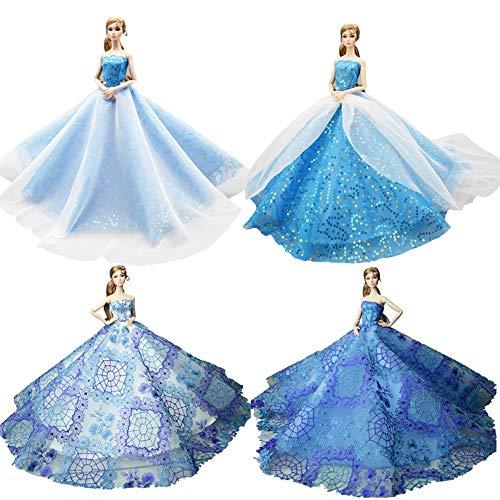 DoCori Ballkleid für Puppen wie Barbie Puppen, Kleiderkleider, Partykleider für 11,8 Zoll Mädchen Puppe Party Outfit für Puppen 4 STK,b