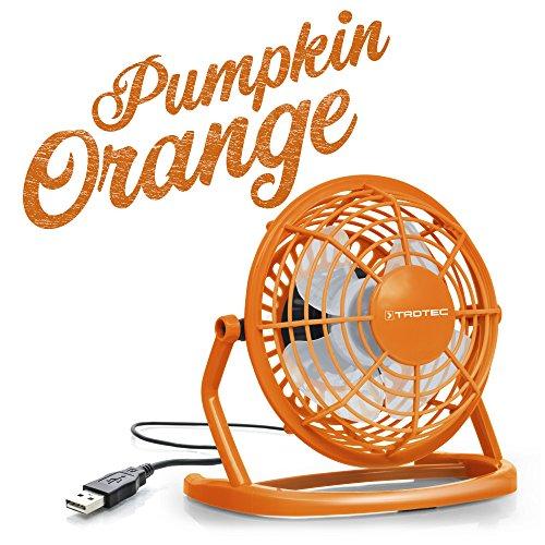 TROTEC TVE 1O Mini USB Ventilator/Fan/Lüfter Pumpkin Orange, geräuscharm mit an/aus-Schalter, 360° Neigungswinkel, Ideal für Schreibtisch Laptop Notebook, Oder unterwegs (Orange)