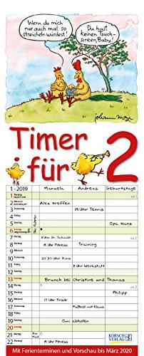 Timer für 2  2019: Familienplaner mit 3 breiten Spalten. Familienkalender mit Tier-Comics, Ferienterminen, Vorschau bis März 2020 und tollen Extras. 19 x 47 cm