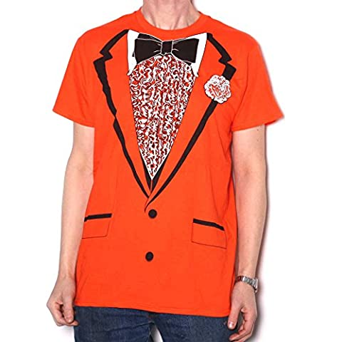 Retro 70's Style Prom Orange Tuxedo T Shirt - US Import Fully Screenprinted All-Over Costume T