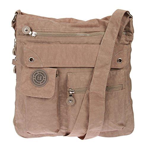 Bag Street 2221 sportliche Handtasche Umhängetasche Schultertasche aus Nylon, Braun, 32 x 33 x 3 cm -