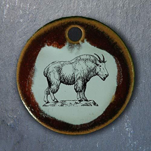Echtes Kunsthandwerk: Toller Keramik Anhänger mit Bergziege; Gemse, Berge, Urlaub, Alpen, Tiere, Schaf, Ziege, Pferd -