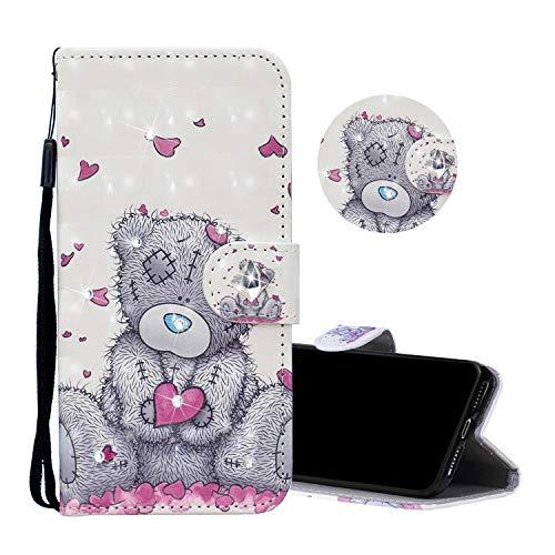 Obesky Glitzer Hülle für Huawei P20 Pro, Luxus Bling Diamant PU Leder Flip Wallet Case Standfunktion Kartensfach Magnetverschluss Schutzhülle mit 3D Muster Liebe Bär Design für Huawei P20 Pro -
