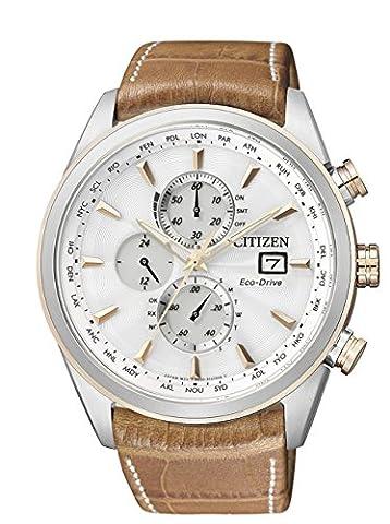 Citizen - AT8017-08A - Montre Homme - Quartz Analogique - Cadran Blanc - Bracelet Cuir Marron