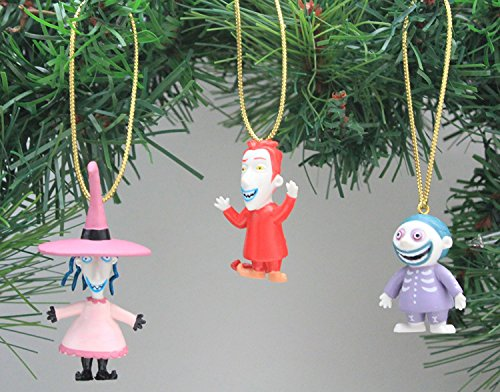 Disney's The Nightmare Before Christmas 'Lock, Shock and Barrel' Ornament Set - (3) PVC Ornaments Included - Limited Availability (Before Stocking Nightmare Christmas)