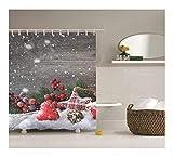 Epinki Polyester Badewanne Vorhang Schnee Weihnachten Dekoration Muster Duschvorhang Rot Grau für Badewanne 165x180CM