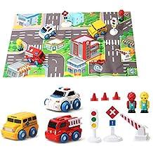 Juego de coches Vehículo de Rescate con estera de juego y señales de tráfico para niños de 3 años