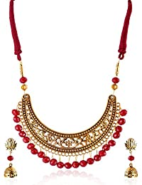 Rai Collection Women's Fashion Designer Antique Gold Plated Oxidized Silver Choker Necklace Neckpiece Set W/earrings...